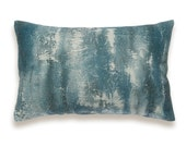 Teal Blue Green Charcoal Beige Decorative Lumbar Pillow Cover 12x18 inch Natural Linen One Of A Kind