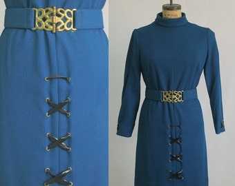 Vintage 1970s Dress 1960s Dress 70s Dress 60s Dress Blue Vintage Dress Womens Size Large Lg
