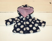 Navy and White Polka Dot Hooded Jacket - 14 - 15 inch doll clothes
