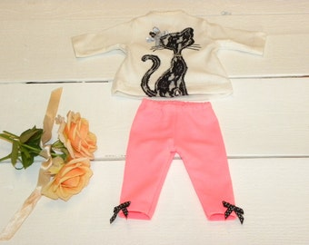 Little Black Cat Tunic Top and Fluorescent Pink Leggings - 14 - 15 inch doll clothes