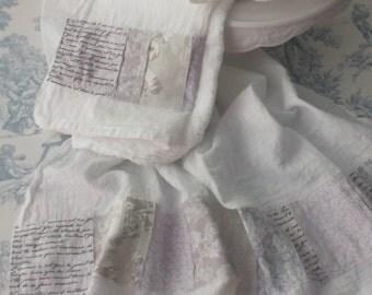 Greige Lace Print French Text Grey Toile Creamy White Tonal Pale Lavender Pretty Patchwork Fabric Trimmed Flour Sack Towel Kitchen Tea Towel