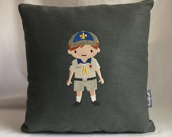 "Young boy scout 12""x12"" pillow, embroidered on soft forest green denim"
