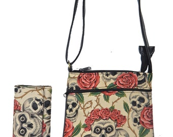 "A Cross Body Bag & A Matching Wallet With "" Skulls Pink Roses"" Gothic Halloween Pattern, New"