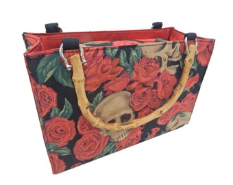 """USA Handmade Handbag With Bamboo Handle With """"Rest In Red Roses"""" Pattern Bag Purse, Cotton, New"""