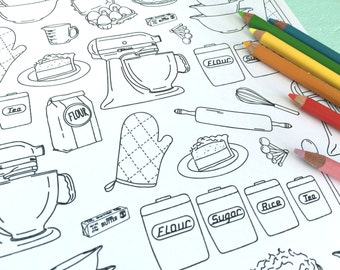 Printable BAKING Coloring Page!- Digital File Instant Download- retro, mixer, cooking, kitchen, adult coloring