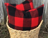 Red Black Buffalo Check Wool Pillow Cover