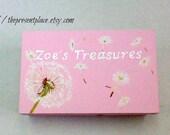 hand painted,personalized,keepsake box,green,white,pink,dandelions, girl's memory box, baby's keepsake box, personalized  baby gift