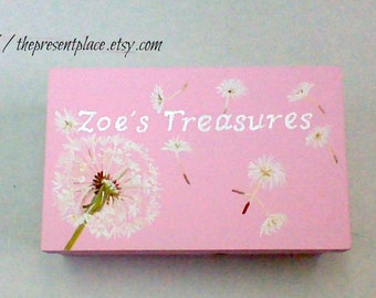 hand painted,personalized,keepsake box,green,white,pink,dandelions, girl's memory box, baby's keepsake box, personalized  baby gift