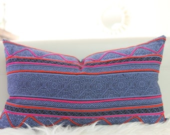 "12x22"" Hmong Embroidered Lumbar Pillow Cover Hmong Pillow, Indigo Pillow Cover, Pink and Navy pillow, Batik Hmong Pillow, Hmong textile"