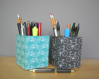 Bike Covered Square Pencil Cup, Desk Accessories, Dorm Acessories, Back To School