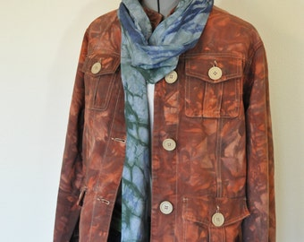 Brown XL Cotton JACKET - Autumn Leaf Brown Dyed Upcycled Route 66 Cotton Safari Blazer Jacket - Adult Women Size Extra Large (44 chest)