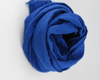 Handmade Linen Scarf --- Royal Blue