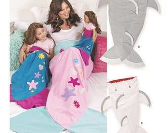 Mommy and Me and Dolly Mermaid Snuggler Pattern, Shark Snuggler Blanket Pattern, Simplicity Sewing Pattern 8275
