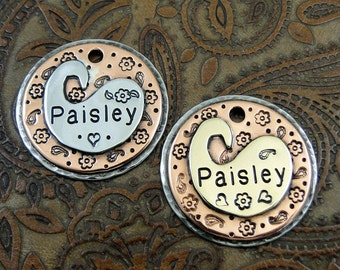 Paisley Dog ID Tag-Custom Dog Collar ID Tag-Pet ID Tag-Personalized Dog Tag