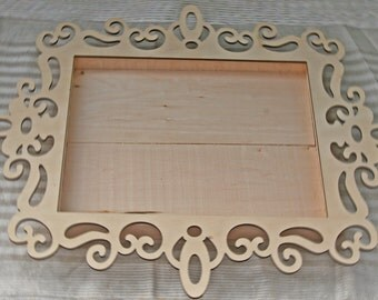 Large Laser Cut Edged Wooden Tray