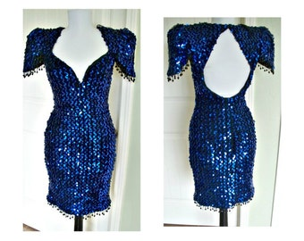Vintage 80s full  blue sequineed hourglass, bombshell, party, dress xtra small size 4