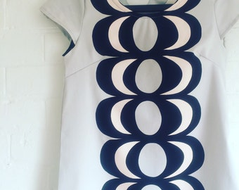 Womens Powder Blue Dress Made with abstract Kaivo Fabric, Womens Dress, Powder Blue Dress made with marimekko fabric