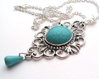Turquoise Necklace in Antique Silver with Tear Drop, Ethnic Necklace, Gemstone Necklace, Victorian Necklace, Blue Necklace, Turquoise Stone