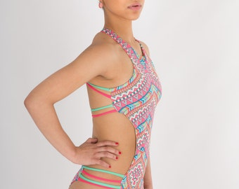 CLEARANCE Yaz Shredded Stringy Strappy Monokini in Mini Aztec, Mint, Purple, Yellow, Pink Multicolor Print