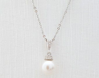 Bridal Single Pearl Necklace Ivory Swarovski Pearl Pendant Wedding Necklace Wedding Jewelry Pearl Bridesmaid Necklace, Ava