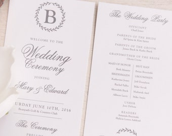 Printable Wedding Programs  | Ceremony program  | Double Sided Programs - Style P70 - LAUREL Wreath COLLECTION