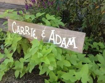 Wood Wedding Personalized Name Sign Rustic Bridal Photo Prop Engagement