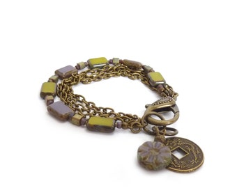 Olive & Violet Charm Bracelet - Antiqued Bronze Chain Bracelet - Chinese Coin Charm - Picasso Glass Rectangles - Boho Jewelry