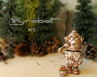Tiny Robot #75 - Handcrafted Miniature Polymer Clay Robot Figurine with Blooming Wildflower Bucket - Rusted Tin and Silver Patina Finish