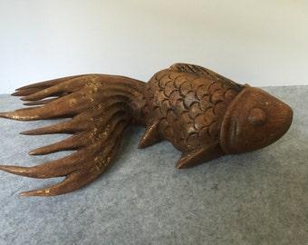 Vintage Large Japanese Carved Wood Fantail Carp Koi Fish