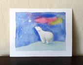 Polar Bear - Original Mixed Media Painting