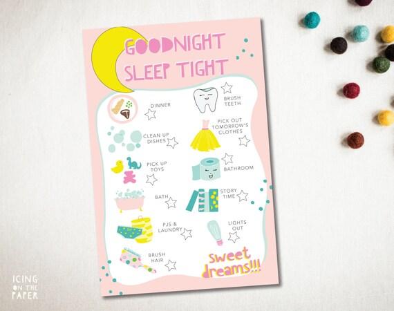 girls good night chore chart checklist