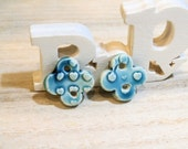 2 handmade clay pottery ceramic charms for earrings  -turquoise blue - poppy in the sky