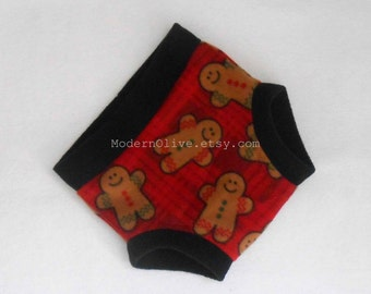Extra Large Fleece Soaker Diaper Underpant Cover/Soaker, Red Green Burgandy Plaid Gingerbread Men, XL Ready to Ship Vegan Christmas Holiday