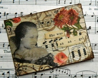 Vintage Style ACEO,Mixed media collage, African American Lady