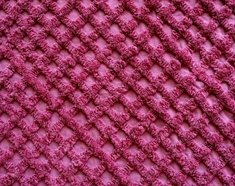 "Burgundy Crosshatch Cotton Chenille Bedspread Fabric 25"" by 30"" Doodaba"