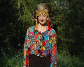 FREE SIZE... Colorful Rayon Bomber Jacket... 80s Vintage Crop Jacket... Awesome Pattern