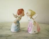 Sweet Pair of Vintage Porcelain Ceramic Kissing  Schmid Angel Couple Figurines
