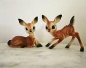 Vintage  Pair of Small Plastic  Bambi Deer  1950s Figurines Hong Kong