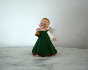 Vintage Ceramic Lefton China Angel Girl  In Green  Dress with Bell KW4836  AS IS Repaired Hand