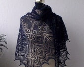 Navy Blue hand knitted alpaca lace shawl