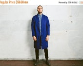 SALE . Vintage FRENCH Work Coat . 1980s Mens Workwear Long Jacket 80s Outerwear Retro Artist Longcoat Parka . Small Medium Large