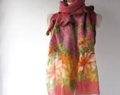 Nuno felted  scarf,  Pink flower   scarf,   warm winter scarf,  floral scarf , women felt shawl by Galafilc