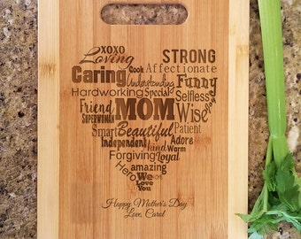 Personalized We Love You Mom Mothers Day Recipe Engraved Cutting Board Mothers Day Gifts from Kids Gift for Mommy Birthday Gifts Home is Mom