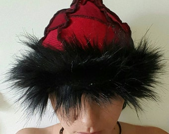Pixie Wizard Witch Hat on Red with Black Faux Fur Trim