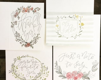 Hand-painted Floral Card Set of f