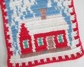 Filet Crocheted Pot Holder Red White Blue Schoolhouse in Winter