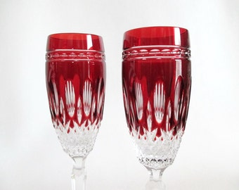 2 Waterford Clarendon Ruby Crystal Champagne Flutes