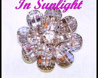 Vintage Vendome Crystal Brooch, Flower,  Designer Signed, Swarovski, 3 Layers, Pagoda, Potato Chip Crystals