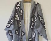 Vintage Japanese Cotton Kimono Robe • Shibori Bohemian Robe • Boho Chic • Bath Robe • Hippie Chic