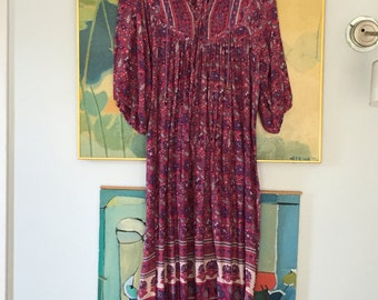 Rare 70s Smock Tent Vintage Dress • Cotton Dress • Free Size Dress • Gauze Cotton Dress